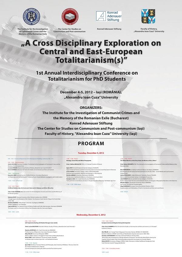 Conferință interdisciplinară anuală a doctoranzilor preocupați de studiul totalitarismului în Europa Centrală și de Est afis