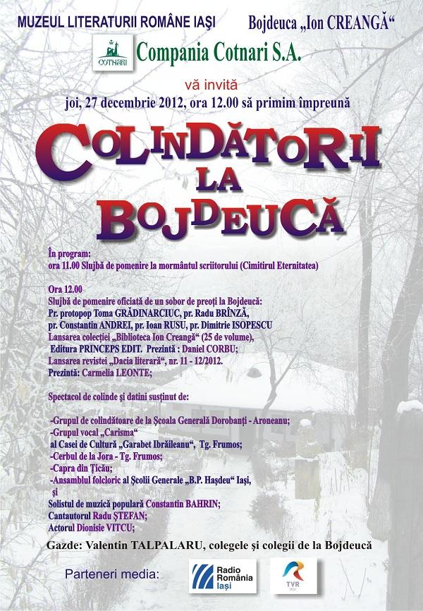 COLINDĂTORI LA BOJDEUCĂ/ 27 decembrie 2012 afis iasi
