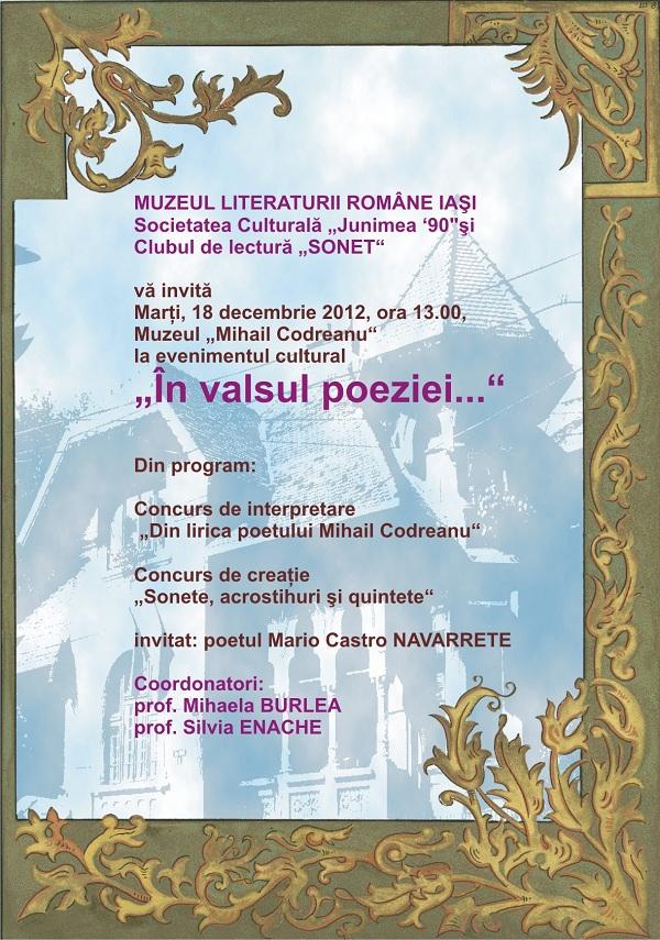 În valsul poeziei cu Mario Castro Navarrete 18 decembrie afis