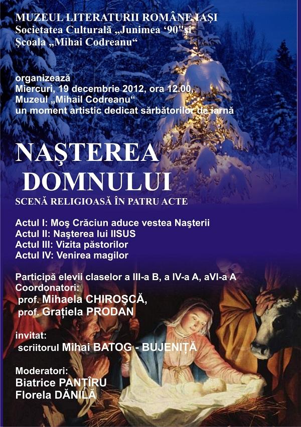 """""""Nașterea Domnului"""", scenă religioasă în patru acte/ 19 decembrie afis"""