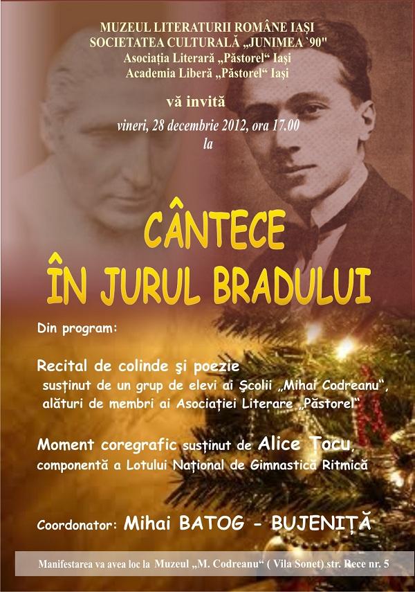 CÂNTECE ÎN JURUL BRADULUI/ 28 decembrie afis iasi