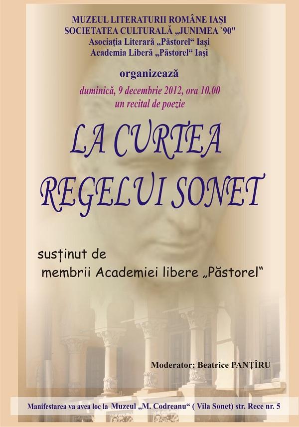 """""""La Curtea Regelui Sonet"""", recital de poezie/ 9 decembrie"""