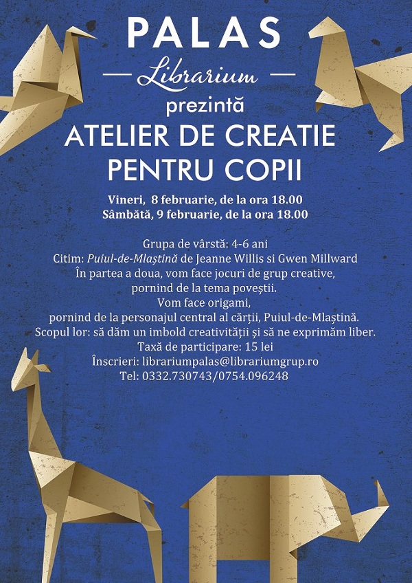 Atelier de creatie pentru copii/ Librarium Palas, Iasi afis www.iasifun.ro