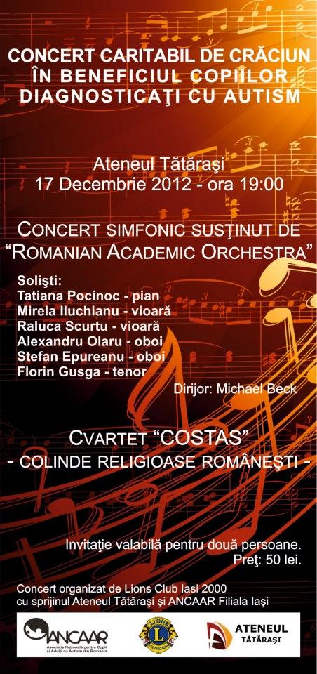Concert caritabil de Crăciun în beneficiul copiilor diagnosticaţi cu autism – luni, 17 decembrie afis