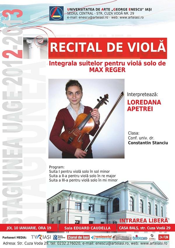 Recital de viola cu LOREDANA APETREI pe 10 ianuarie afis iasi