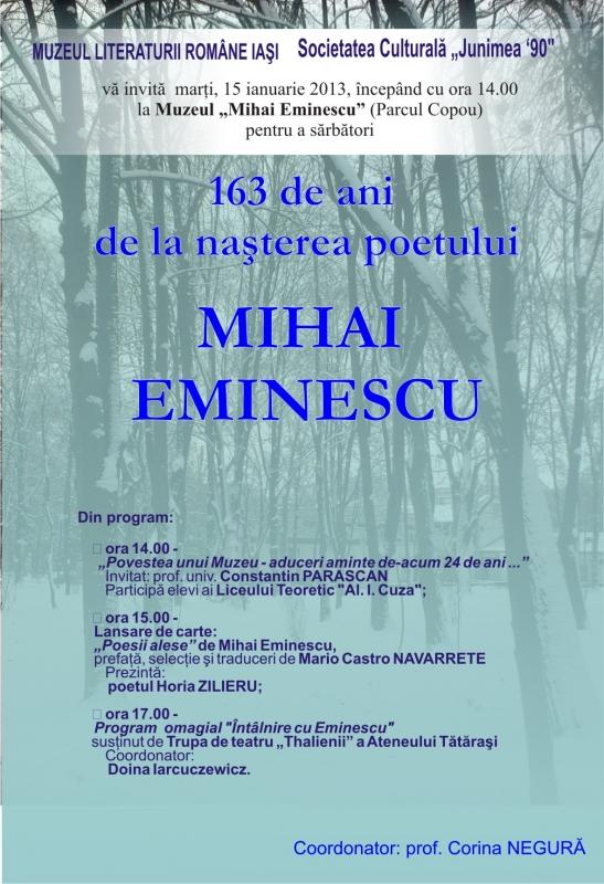 163 de ani de la nașterea poetului Mihai Eminescu/ 15 ianuarie afis iasi