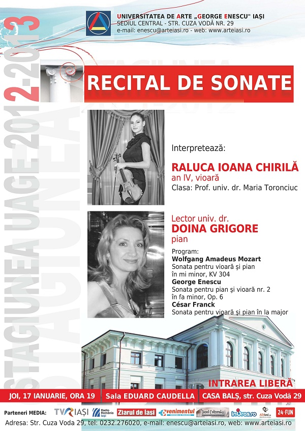 Recital de sonate RALUCA CHIRILA si DOINA GRIGORE/ 17 ianuarie 2013 afis iasi