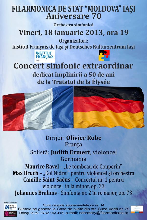 Concert simfonic cu ocazia împlinirii a 50 de ani de la semnarea Tratatului de la Élysée/ 18 ianuarie afis iasi
