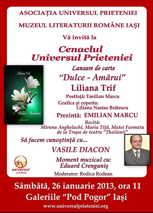 """Lansarea volumului de poezie """"Dulce – Amărui"""" al Lilianei Trif/ 26 ianuarie afis iasi"""