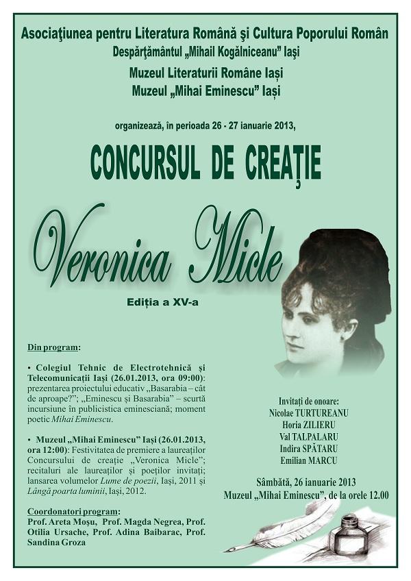 """Gala laureatilor Concursului de creatie """"Veronica Micle""""/ 26 ianuarie afis iasi"""