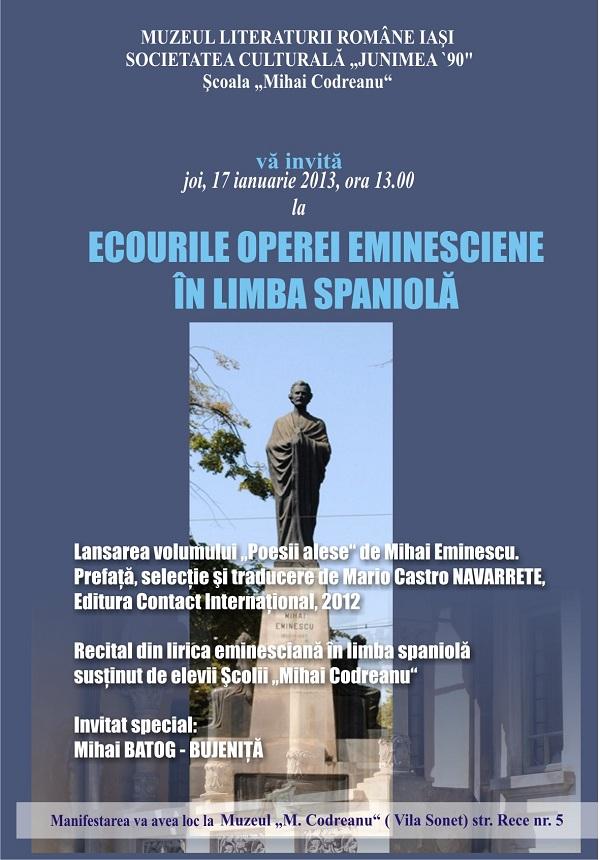 ECOURILE OPEREI EMINESCIENE ÎN LIMBA SPANIOLĂ/ 17 ianuarie afis iasi