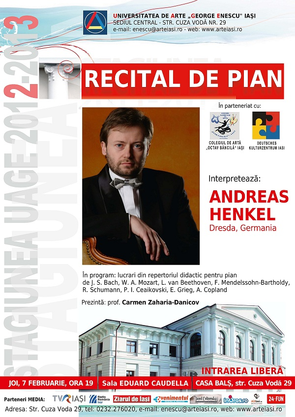 Recitalul de pian susţinut de ANDREAS HENKEL/ 7 februarie afis iasi www.iasifun.ro