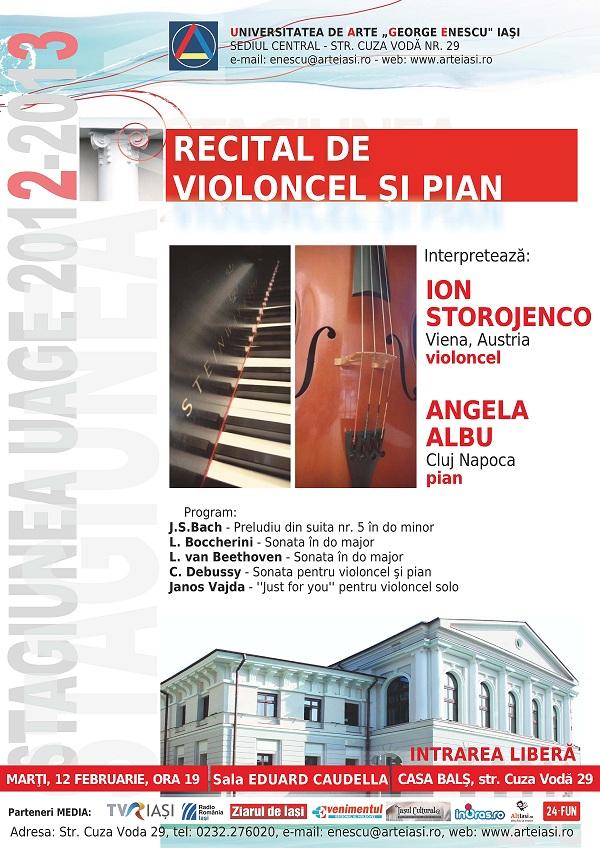 Recitalul de violoncel şi pian - Ion Storojenco si Angela Albu/ 12 februarie afis mic www.iasifun.ro