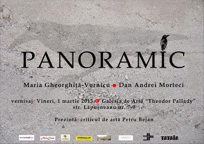 """Expoziţia de desen """"Panoramic"""", Maria Gheorghiţă-Vornicu si Andrei Morteci  afis iasi"""