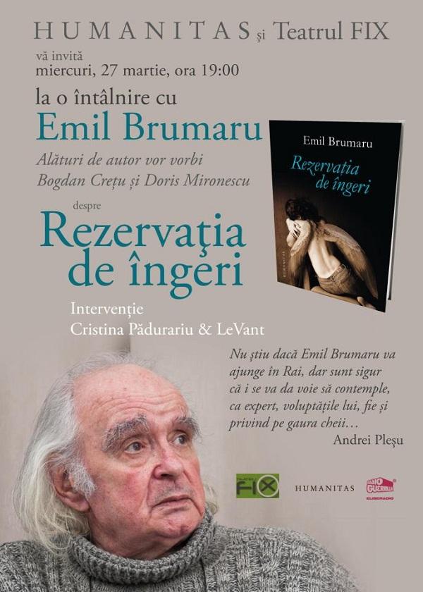 """Lansare de carte - """"Rezervația de îngeri"""", de Emil Brumaru (afis, Iasi)"""