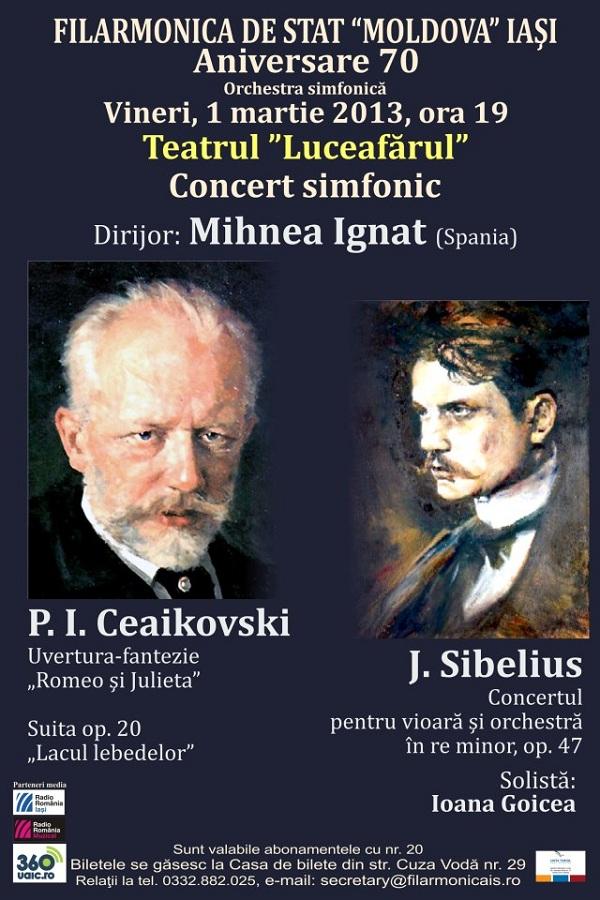 Concert simfonic dirijat de Mihnea Ignat. Solistă: Ioana Goicea, vioară afis iasi
