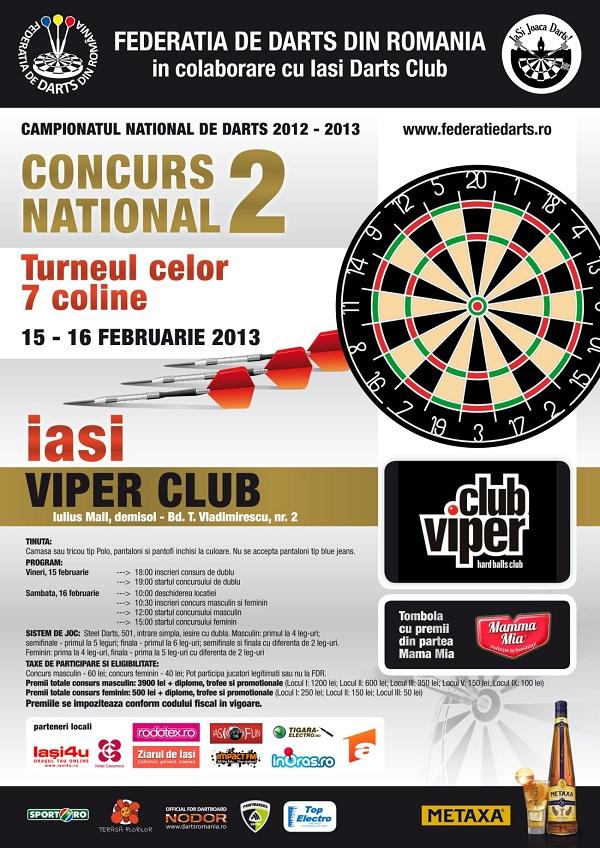Concursul National de Darts in Viper Club/ 15-16 februarie afis iasi www.iasifun.ro