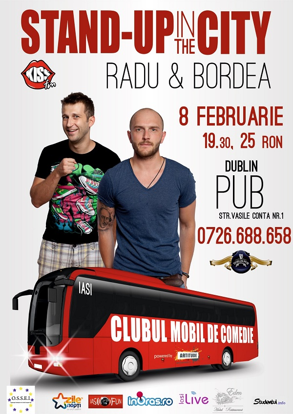 """Stand Up in the City"" revine la Iasi cu Catalin Bordea si Radu Isac/ 8 februarie afis iasi www.iasifun.ro"