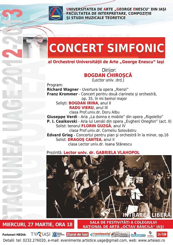Concertul Orchestrei simfonice a Universitatii de Arte George Enescu Iasi / afis