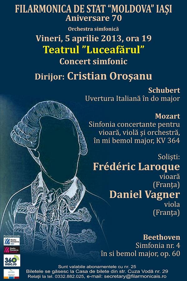 """Concert simfonic la Teatrul """"Luceafărul"""" Iași/ Dirijor: Cristian Oroşanu/ Afis Filarmonica Iasi"""