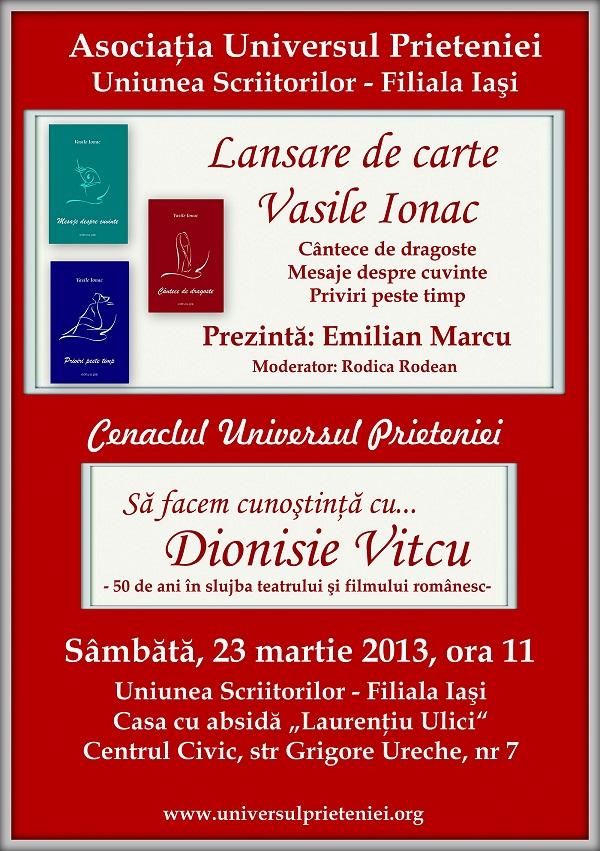Scriitorul Vasile Ionac lansează la Iași trei volume de poezii afis iasi