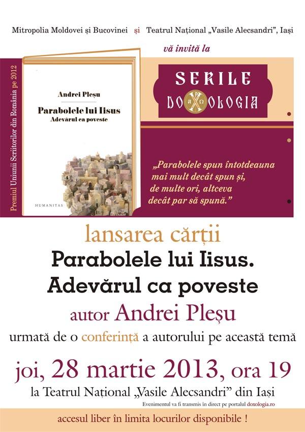 Afis lansare carte Plesu_2013