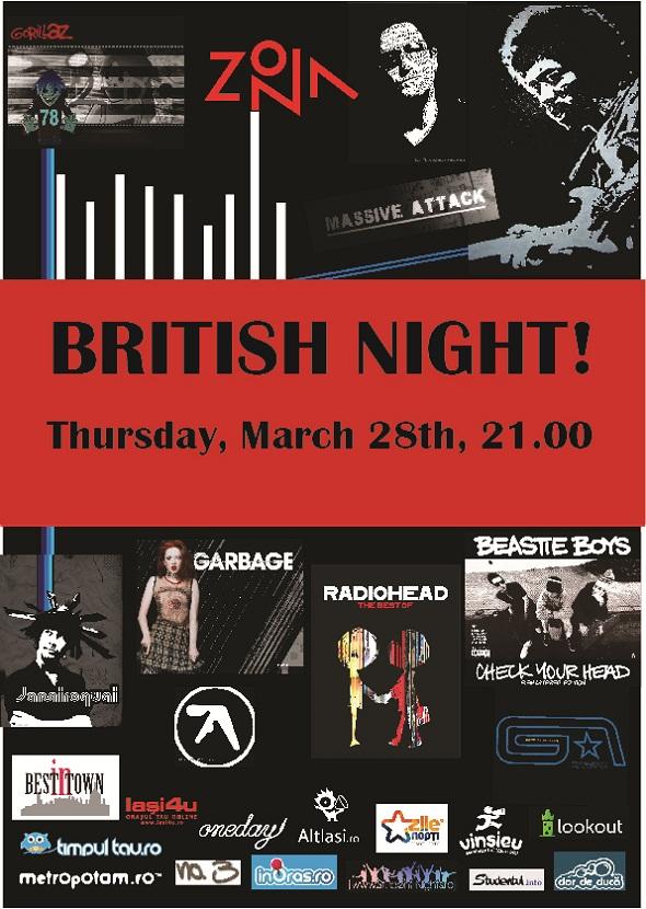 """Britsh Night"" @ ZONA Partyspace afis iasi"