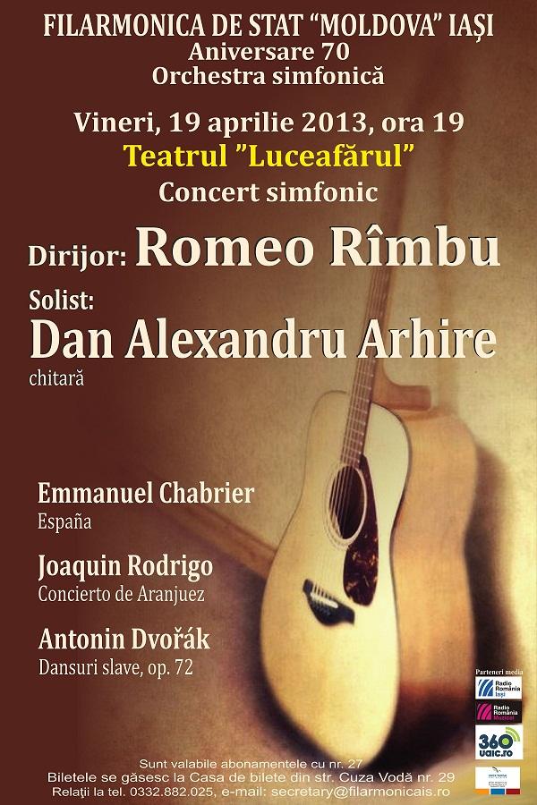 Concert simfonic/ Romeo Rimbu (dirijor) și Dan Arhire (solist, chitară)/ Afis