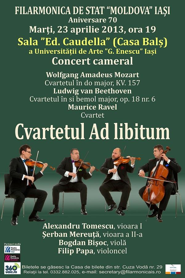 Concert cameral, Cvartetul Ad libitum/ Afis Filarmonica Iasi