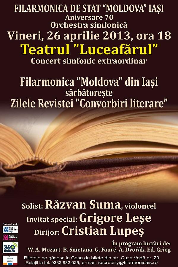 Concert simfonic/ Cristian Lupeş (dirijor) și Răzvan Suma (solist, violoncel)/ afis Filarmonica Iasi