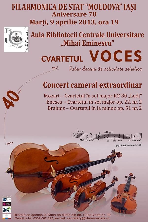 Concert cameral extraordinar, Cvartetul Voces – Aniversare 40/ afis Iasi
