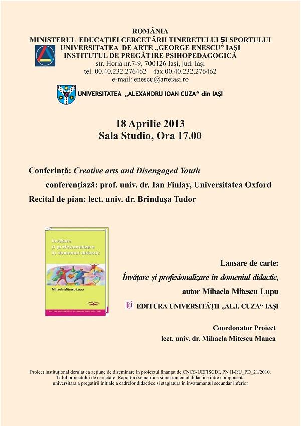 Conferință, recital și lansare de carte la UAGE/ Afis Iasi