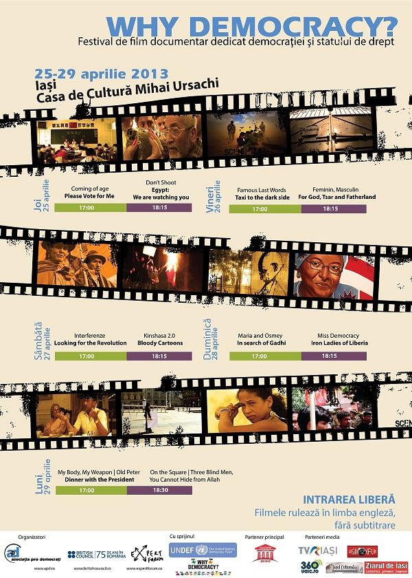 """20 de filme documentare gratuite despre democraţie, în cadrul Festivalului """"Why Democracy?""""/ afis Iasi"""