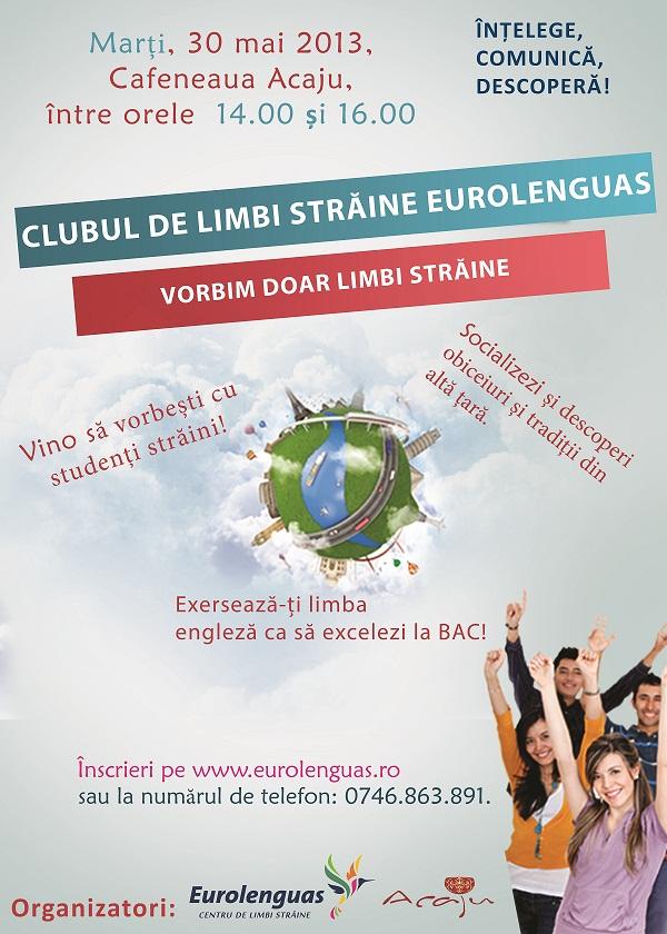 """CURSURI/ """"Clubul de limbi străine Eurolenguas""""/ Afis Iasi"""
