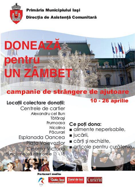 Donează pentru un zâmbet!/ Campanie Afis Primaria Iasi