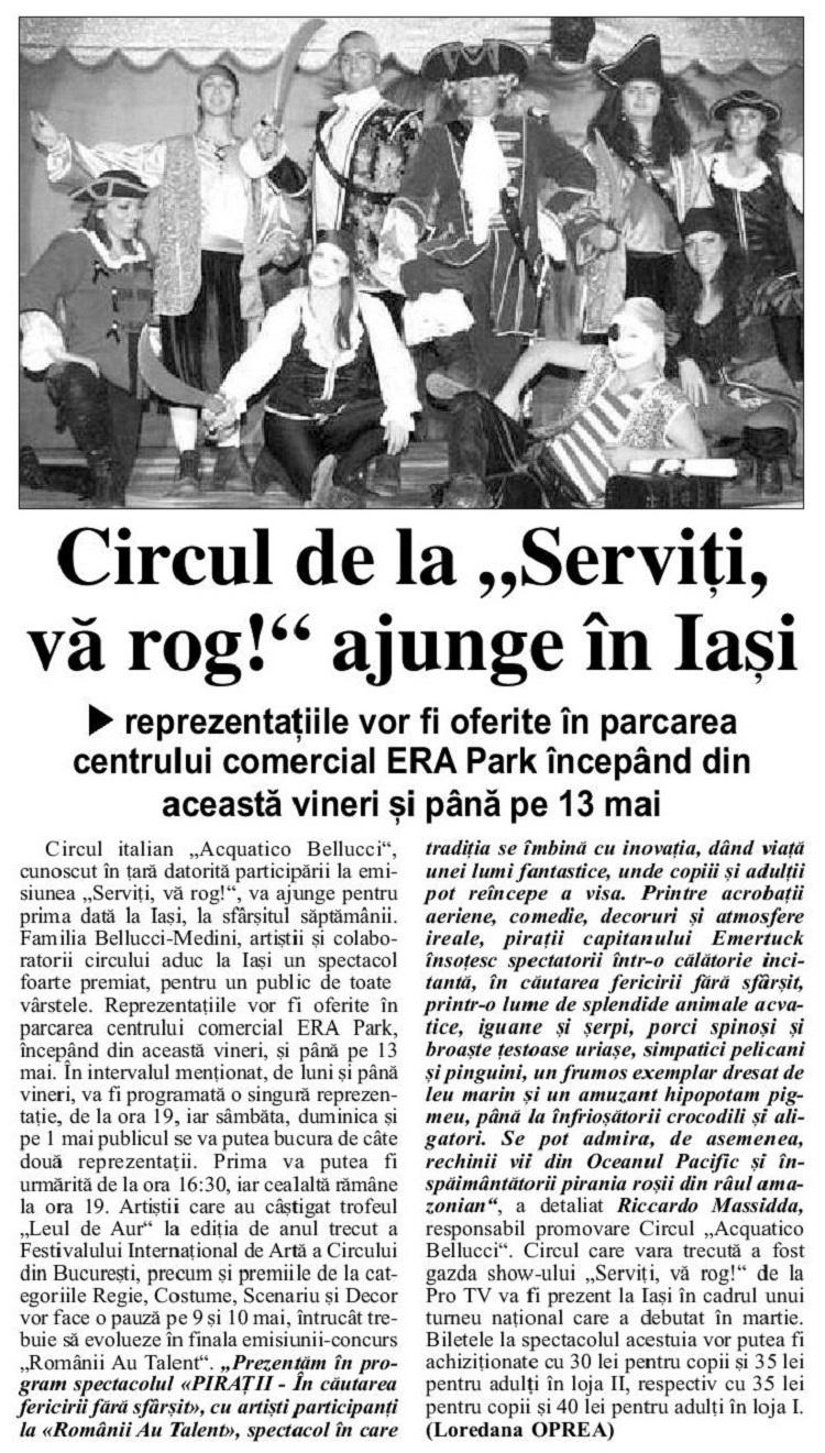Circul de la Serviți, vă rog ajunge în Iași/ articol ziarul de iasi