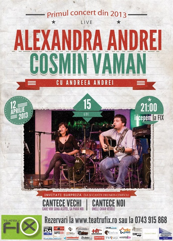 Concert Alexandra Andrei & Cosmin Vaman - cu Andreea Andrei/ Teatru Fix Iasi Afis