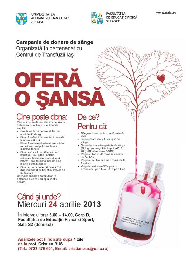 Campanie de donare de sânge organizată de UAIC/ Afis Iasi