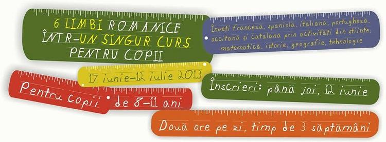 6 limbi romanice într-un singur curs pentru copii/ afis iasi