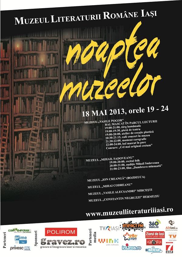 """""""Noaptea Muzeelor"""" la Muzeul Literaturii Române Iași/ Afis Iasi Bal in Parc"""