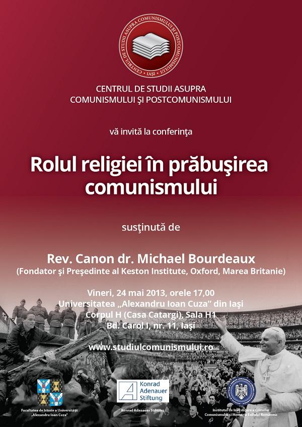 """Rev. Canon dr. Michael Bourdeaux va susţine la Iaşi conferinţa """"Rolul religiei în prăbușirea comunismului""""/ Afis"""