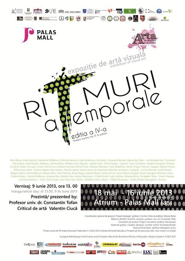 """Expoziția colectivă de artă vizuală """"Ritmuri atemporale""""/ Afis iasi"""