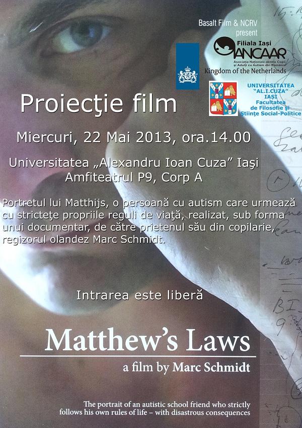 ANCAAR Iași vă invită la film: Matthew's Law/ Afis Iasi