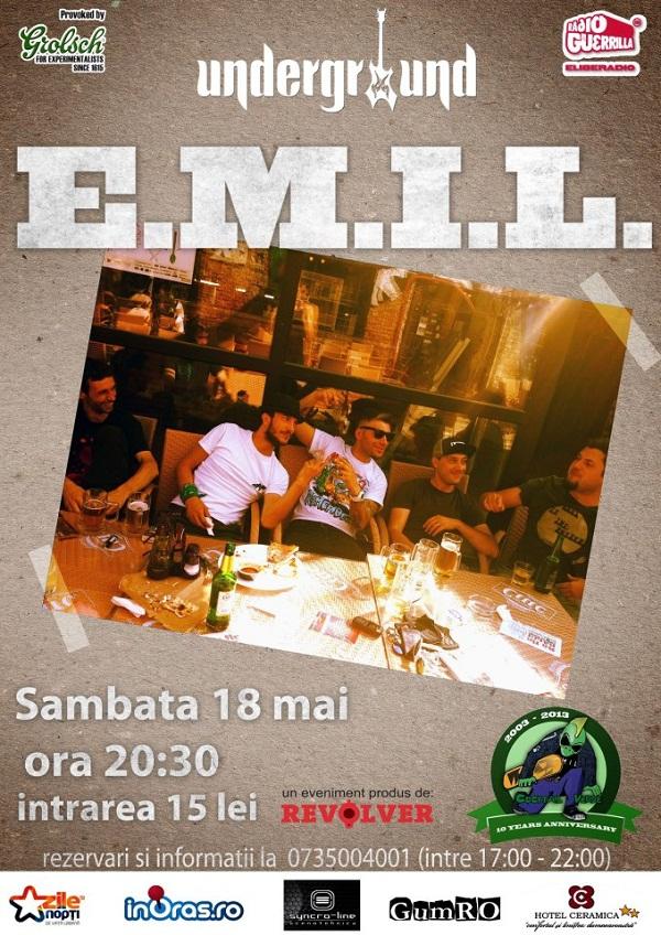 Concert E.M.I.L. în Iași/ Afis Iasi Underground