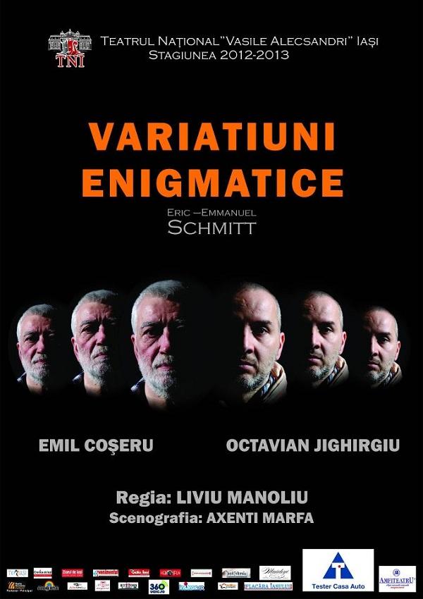 """PREMIERĂ/ Spectacolul """"Variaţiuni enigmatice"""" la Teatrul Național Iași"""