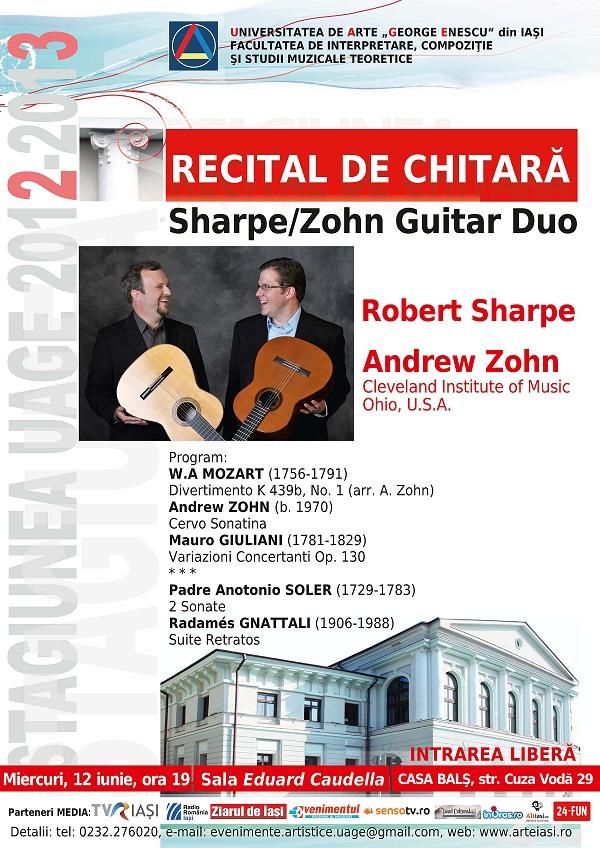 Recital de chitara - Sharpe/Zohn Guitar Duo/ afis iasi