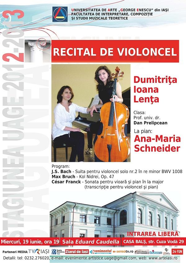 Recital de violoncel - Dumitrița Lența și Ana Schneider/ afis iasi
