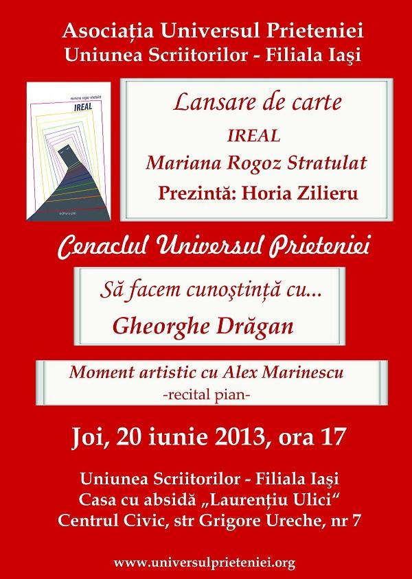 """Lansarea volumului de poezie """"IREAL""""/ afis iasi"""