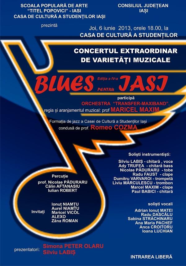 """""""Blues pentru Iași"""" la Casa de Cultură a Studenților/ afis"""