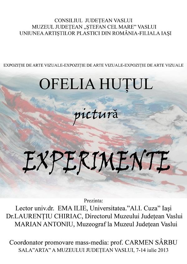 """Expoziția de arte vizuale """"Ritmuri. Structuri. Mistere. Experimente. Afective""""/ AFIS 0FELIA HUTUL"""